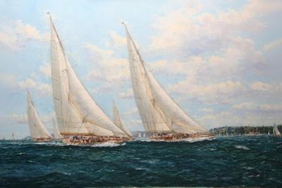 J Class Yachts Racing Off Cowes 1935 by John Sutton