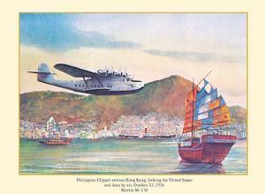 Philippine Clipper Arrives Hong Kong Oct. 1936 - Pan American Airways - Martin M-130 by John T. McCoy