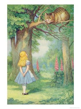 Alice and the Cheshire Cat, Illustration from Alice in Wonderland by Lewis Carroll by John Tenniel