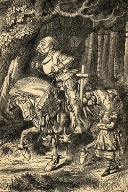 Alice and the White Knight, Illustration from 'Alice in Wonderland' by Lewis Carroll (1832-98)… by John Tenniel