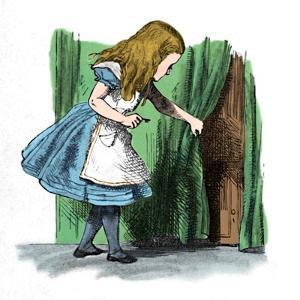'Alice looking at a small door behind a curtain', 1889 by John Tenniel