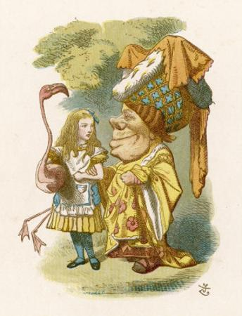 Alice Plays Croquet with the Duchess Using a Flamingo by John Tenniel
