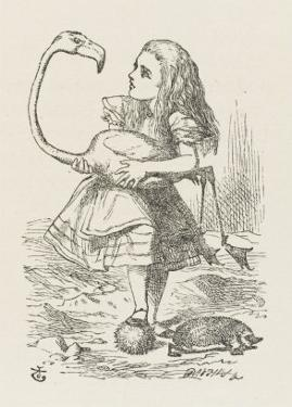 Croquet Alice with the Flamingo by John Tenniel