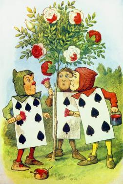 The Playing Cards Painting the Rose Bush, Illustration from Alice in Wonderland by Lewis Carroll by John Tenniel