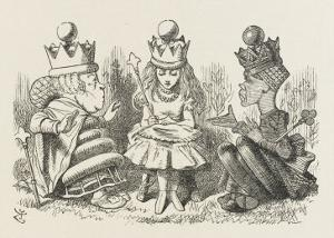Two Queens Alice with the Two Queens by John Tenniel