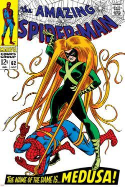The Amazing Spider-Man No.62 Cover: Spider-Man and Medusa Fighting by John
