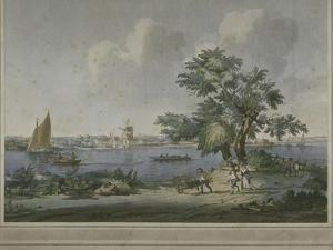 View of Figures Transporting Vegetables Along the Bank of the River Thames, 1787 by John the Elder Cleveley