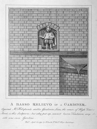 Bas Relief of a Gardener, Gardner's Lane, City of London, 1791