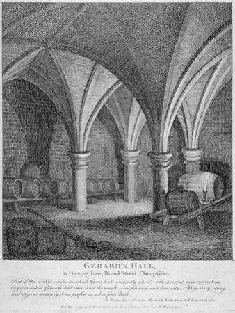 Crypt under Gerard's Hall on the South Side of Basing Lane, City of London, 1795