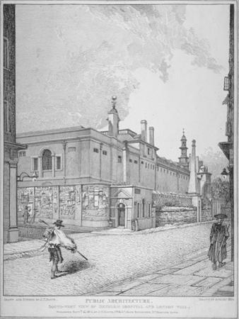 South-West View of Old Bethlehem Hospital, Moorfields and London Wall, City of London, 1814