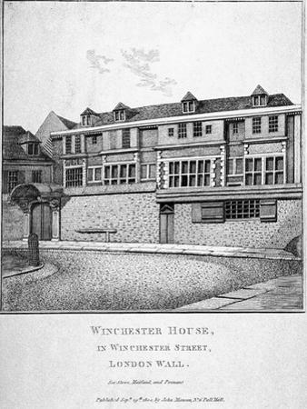 View of Winchester House in Winchester Place, London, 1800