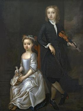 A Young Boy Holding a Violin and a Young Girl Holding a Doll by John Vanderbank