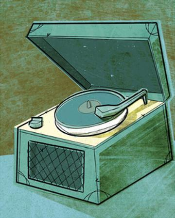 Old School Record Player in Aqua by John W. Golden