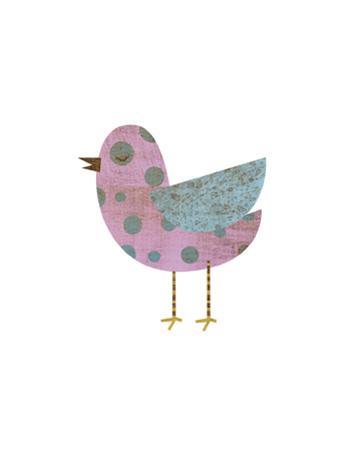 Pink and Blue Polka Dot Bird by John W. Golden