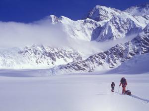 Climbers Ski Up the Kahiltna Glacier Towards Mount Mckinley by John Warburton-lee