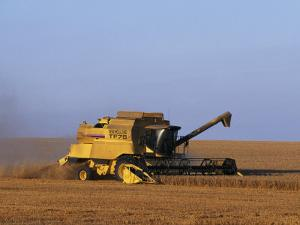 Lincolnshire, Walcot, Combine Harvester Harvesting Wheat, England by John Warburton-lee