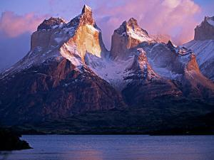 Paine Massif at Dawn, Seen across Lago Pehoe, Torres Del Paine National Park, Chile by John Warburton-lee