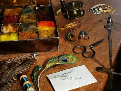 Uk, Antique Fly-Tying Equipment with a Traditionally Tied Salmon Fly in Vice on a Fly-Tiers Bench by John Warburton-lee