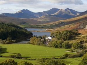 Uk, North Wales, Snowdonia; the Snowdon Horseshoe Rises Above Llyn Mymbr by John Warburton-lee
