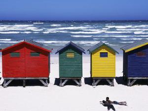 Victorian-Style Bathing Boxes on the Beach, Western Cape, South Africa by John Warburton-lee