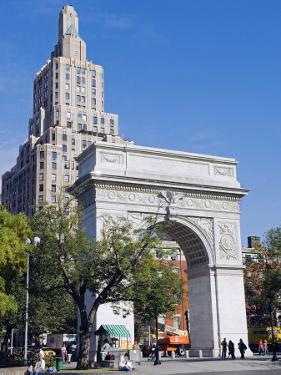 Washington Arch Stands in Washington Place with Backdrop of High Rise Buildings, Greenwich Village by John Warburton-lee