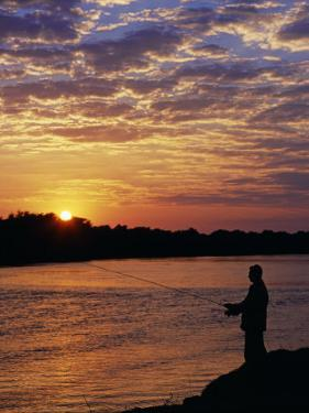 Zambezi National Park, Sausage Tree Camp, Fly-Fishing for Tiger Fish at Sunset on River, Zambia by John Warburton-lee