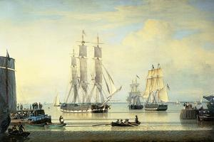 The 'William Lee' at the Mouth of the Humber Dock, Hull, or the Return of the 'William Lee', 1839 by John Ward