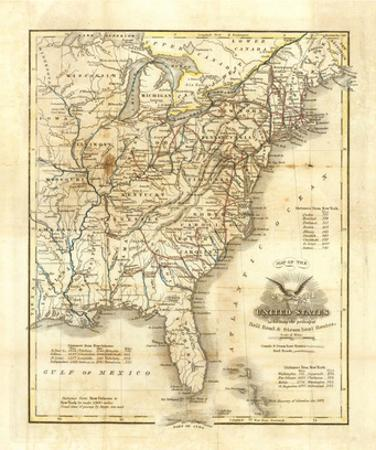Map of The United States, c.1845 by John Warner Barber