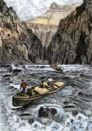 John Wesley Powell's Grand Canyon Expedition Running Rapids on the Colorado River, c.1870