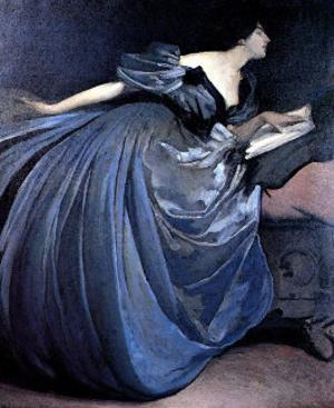 Althea Reading in Blue Dress by John White Alexander