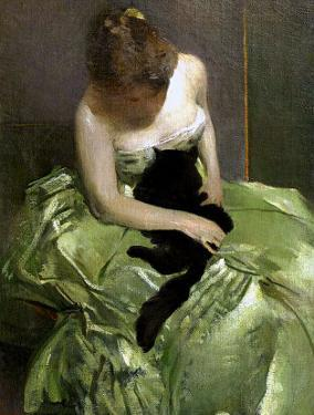 Woman in Green Dress with Black Cat by John White Alexander