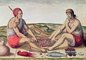 Indians Eating a Meal, engraved by Theodore de Bry by John White