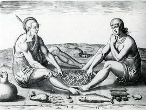 Their Sitting at Meat, 1590 by John White