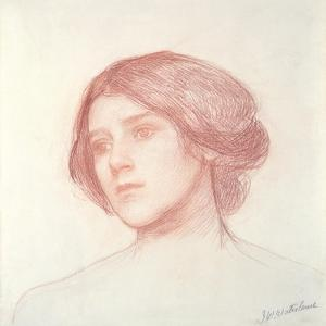 Head of a Girl (Red Chalk on Paper) by John William Waterhouse