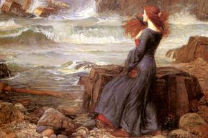 Miranda the Tempest John William Waterhouse Plastic Sign by John William Waterhouse
