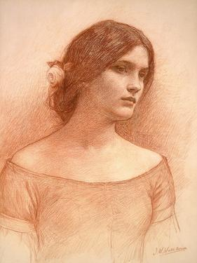Study for 'The Lady Clare', C.1900 (Red Chalk on Paper) (See 55018) by John William Waterhouse