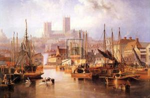 The Brayford Pool and Lincoln Cathedral by John Wilson Carmichael