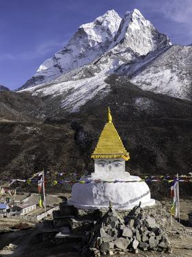 Buddhist Stupa Outside the Town of Dingboche in the Himalayas, Nepal, Asia by John Woodworth