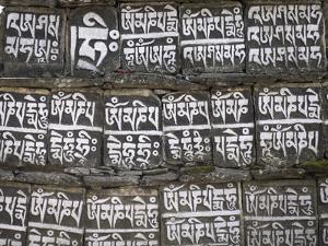 Close Up of Mani Stones Along One of the Trekking Trails in the Sagarmatha National Park, Nepal by John Woodworth