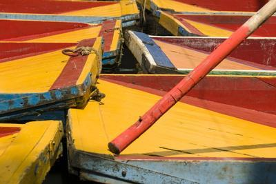 Close Up of the Colourful Wooden Boats at the Floating Gardens in Xochimilco