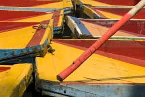 Close Up of the Colourful Wooden Boats at the Floating Gardens in Xochimilco by John Woodworth