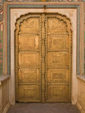 Close Up of the Ornate Door at the Peacock Gate in the City Palace, Jaipur, Rajasthan by John Woodworth
