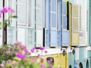 Colourful Wooden Window Shutters in the Boat Quay Area of Singapore, Southeast Asia, Asia by John Woodworth