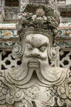 Detail of Statue at Wat Arun (Temple of the Dawn), Bangkok, Thailand, Southeast Asia, Asia by John Woodworth