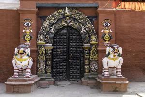Lion Statues Outside a Gate at the Taleju Temple, Durbar Square, Kathmandu, Nepal, Asia by John Woodworth
