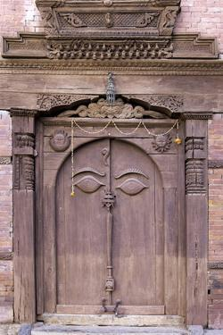 Orate Wooden Door in the Hanuman Dhoka Royal Palace Complex, Kathmandu, Nepal, Asia by John Woodworth