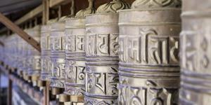 Prayer Wheels at the Buddhist Monastery in Tengboche in the Khumbu Region of Nepal, Asia by John Woodworth