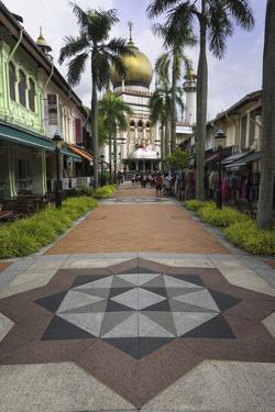 Road Leading to the Sultan Mosque in the Arab Quarter, Singapore, Southeast Asia, Asia by John Woodworth