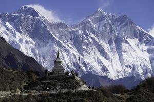 Tenzing Norgye Memorial Stupa with Mount Everest by John Woodworth