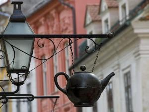 Traditional Sign Outside a Tea Shop in Ljubljana Old Town, Slovenia, Europe by John Woodworth